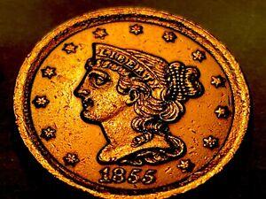 1855 Braided Hair Half Cent * Choice BU  Red *