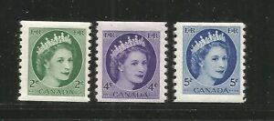 CANADA – 1954 – ELIZABETH DEFINITIVES – COIL STAMPS - #345-347 – SET OF 3 - MINT