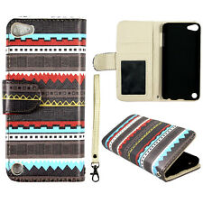 Brown Tribal B  Wallet Leather Flip For Ipod Apple Touch 5 5th Gen  Case Cover