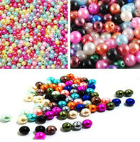 Lots Bulk 500pcs Multicolor Round Pearl Imitation Glass Bead 4mm hs
