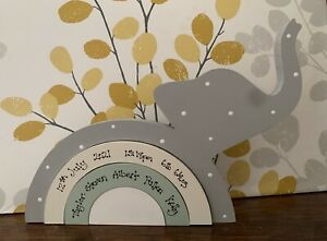 Personalised Wooden Stacking Elephants Rainbow, New Baby Boy Girl Gift