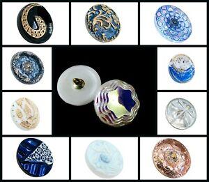 CHOOSE COLOR! 1pc Size 8 (18mm) Hand Made Art Button Czech Glass