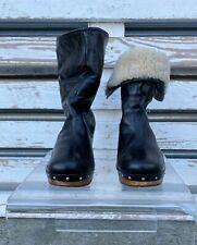 UGG LYNNEA LEATHER SHEARLING WOOD HEEL CLOG BOOTS Size UK 7.5/US 9/ EUR 40