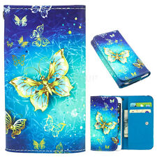 Universal Folio PU Leather Wallet Case Cover Protector For Samsung For iPhone