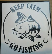 Keep calm go fishing - large in choice of colours vinyl sticker decals, graphics