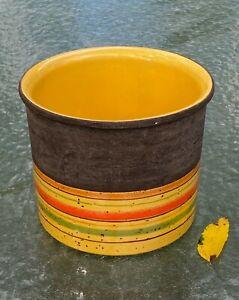 MCM Bitossi Yellow Stripe Planter Flower Pot Italy Raymor Netter Ceramic