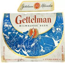 Gettelman Beer Foil Label Milwaukee Wisconsin Beer BBQ TV Cat Dog Blue Neckband