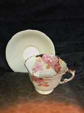 Vintage Mint Green With Roses Gold Trim Teacup & Saucer