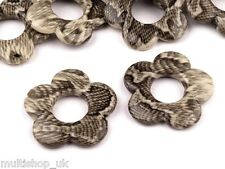 10 x FLAT - FLOWER SHAPE - SNAKE SKIN PRINT BEADS LARGE 32 mm