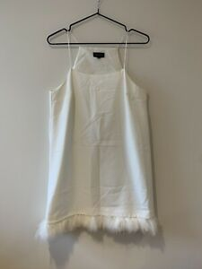 Topshop White Mini Dress With Spaghetti Strap Halterneck & Feather Trim Hem