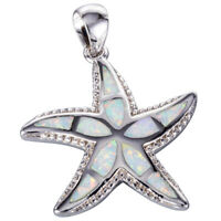 Starfish White Fire Opal Silver Jewelry Necklace Pendant