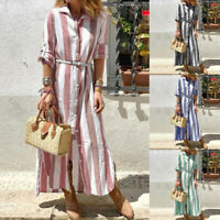 Women Vintage Stripe Long Maxi Dress Buttons Down Split Hem Full Length Dress