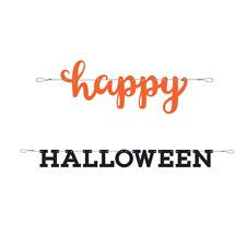 7ft Happy Halloween Black & Orange Letter Banner Bunting Kids Party Decoration