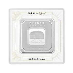 100 grams Geiger Original square .999 fine silver bar in assay