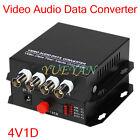 1Pair 4 Channel Video Audio Data Fiber Optic Media Converter SM Single FC 20KM