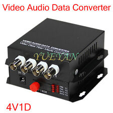 1Pair 4 Channel Video Audio Data Fiber Optic Media Converter SM Single FC 20KM