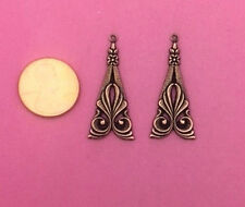 ANTIQUE COPPER PLATED BRASS NOUVEAU EARRINGS - 2 PCS