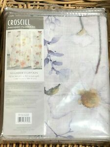 Croscill PRESSED FLOWERS Fabric Shower Curtain Floral Textured Polyester