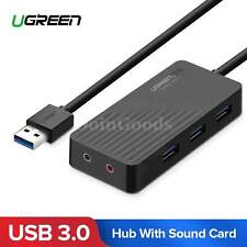 Ugreen Usb Sound Card With 3.0 Hub External 3.5mm Adapter Audio For Pc Laptop