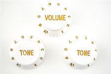 White 1 Volume&2 Tone Guitar Control Knobs For Fender Strat Style Guitar