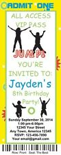 12 Personalized Jump Birthday Ticket Invitations w/Envelops