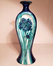Navy Blue & Turquoise Glaze Terracotta Studio Pottery Vase - Floral Decoration