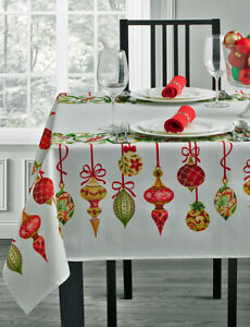 """Christmas Holiday Tablecloth Ornaments Holly & Berry 60"""" ROUND"""
