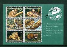 Guinea 1998, Endangered Species, Opossum,Puma,Ocelot,Leopa rd, Sc#1477,S/S,Nh 114