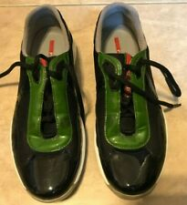 Prada Sneakers PS 0906 Black w/ Green Shoes Great Shape & Clean 7.5