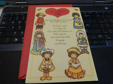 Vtg Paper Doll Greeting Card Valentine Card Costumes Other Countries Punch out