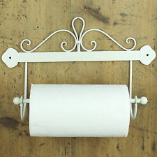 Kitchen Roll Holder cream shabby wall mounted chic vintage Metal home scroll