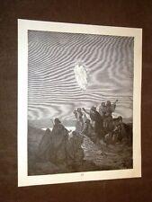 Incisione Gustave Dorè 1880 Bibbia Gesù che ascende al cielo Bible Engraving