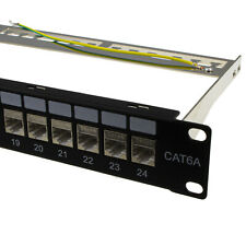 More details for 24 port rj45 cat6a shielded through coupler patch panel with back bar