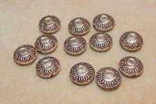 12 Mocha Carved Pattern Acrylic Beads - Fit European Charm Bracelets Metal Core