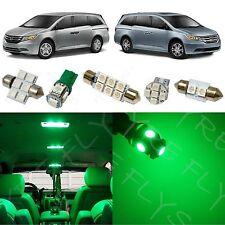 17x Green LED lights interior package kit for 2011-2016 Honda Odyssey HO3G