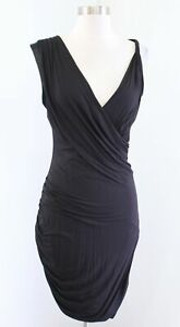 NWT Bebe Black Jersey Knit Draped Ruched Twist Sleeve V Neck Dress Size M
