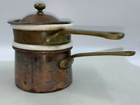 VTG Waldow Brooklyn NY Copper Double Boiler Ceramic Insert Brass Handles w/ Lid