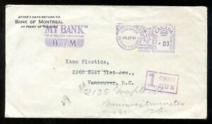 p678 - VANCOUVER 1946 Meter Bank Slogan on Local Cover - Postage Due