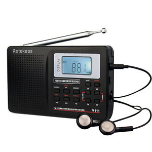 Retekess V111 Portable FM/AM/SW Radio Stereo Digital Alarm Clock Rechargeable US
