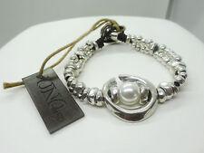 """UNO de 50 """"Full Moon"""" Pearl Silver Plated Metal Bracelet"""