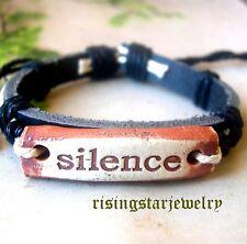 Cool Men Silence Leather hemp Surfer Biker Hip Hop Characters Bracelet Wristband