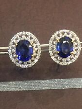 Pave 10.10 Cts Round Brilliant Cut Diamonds Sapphire Stud Earrings In 14K Gold