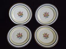 """Set 4 T & V Limoge France La Cloche Salad Plates 8 1/4"""" Green Bell Ribbon Marks"""