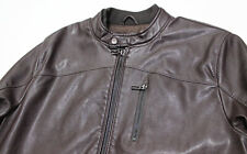 Made In Italy DIKTAT Classic-Fit Leatherette Brown Bomber Biker Jacket X-Large