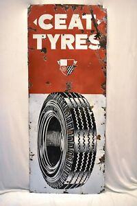 "Ceat Tire Vintage Porcelain Enamel Sign Board Advertising Tyres Automobile Rare"""