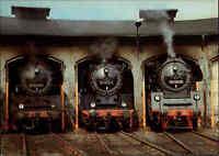 Eisenbahn Motiv-Postkarte DDR Zug Lok Lokomotive Bahnbetriebswerk Bahnhof NOSSEN