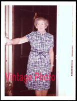 Polyester Granny Guards the Door - Original 1974 Vernacular Snapshot