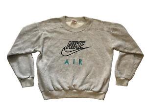 VTG Nike Air Sweatshirt Gray Embroidered Logo Turquoise Size M