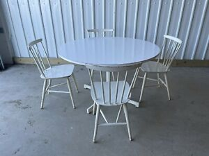 KANDYA VINTAGE LARGE ROUND DINING TABLE & 4 CHAIRS SEATS  DELIVERY AVAILABLE