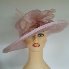 Ladies Wedding Hat Races Mother Bride Ascot Pink Diamante Feathers by Medici